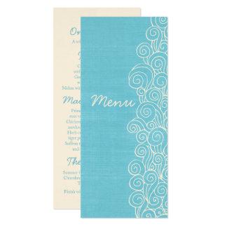 海の青い及びクリーム色の結婚式夕食メニュー カード