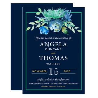 海の青い水彩画によっては結婚式招待状が開花します カード