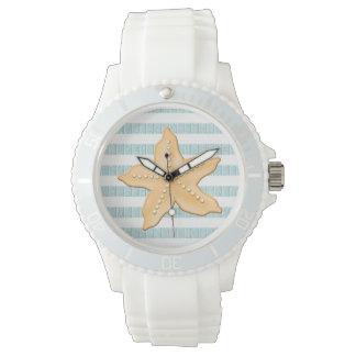海の青く航海のでストライプなヒトデ 腕時計