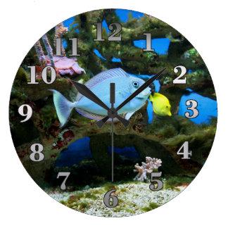 海の青の魚 ラージ壁時計