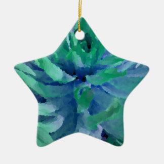 海の青、海の緑、ダリア、大きい開花 陶器製星型オーナメント