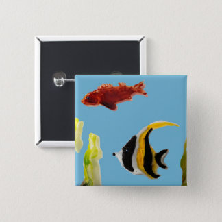 海の魚の芸術の水泳 5.1CM 正方形バッジ