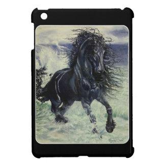 """海の""""Friesian嵐""""の黒の種馬の馬 iPad Mini Case"""