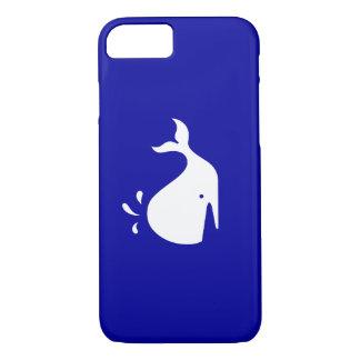 海のGlow_White-on-Blueのクジラ iPhone 8/7ケース