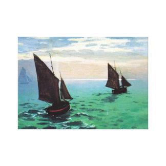 海のMonetの漁船 キャンバスプリント