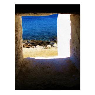 海のMykonosへの眺め、ギリシャ ポストカード