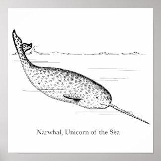 海のNarwhalのクジラのユニコーン ポスター