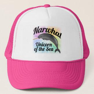 海のNarwhalのユニコーン、かわいい虹 キャップ