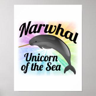 海のNarwhalのユニコーン、かわいい虹 ポスター
