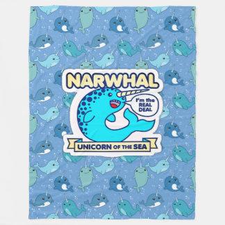海のNarwhalのユニコーン フリースブランケット
