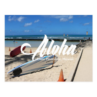 海のWaikikiのビーチのホノルル青いハワイの郵便はがき ポストカード