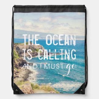 海は-マウイの海岸|のドローストリングバッグ呼んでいます ナップサック