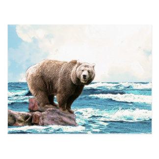 海を探検しているヒグマ! ポストカード