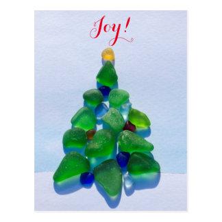 海ガラス、ビーチのガラスクリスマスの休日の郵便はがき ポストカード