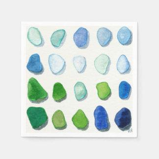 海ガラス、ビーチのガラス芸術のナプキン スタンダードカクテルナプキン