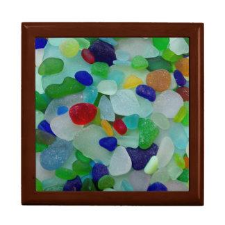 海ガラス、ビーチのガラス芸術の写真の記念品箱 ギフトボックス