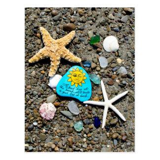 海ガラス、ビーチのガラス芸術の絵画のおもしろいの郵便はがき ポストカード