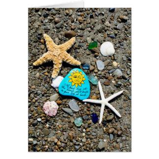 海ガラス、ビーチのガラス芸術の絵画の挨拶状 カード