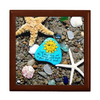 海ガラス、ビーチのガラス芸術の絵画の記念品箱 ギフトボックス