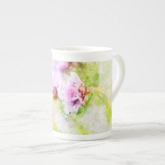 海ピンクの花のマグ ボーンチャイナカップ