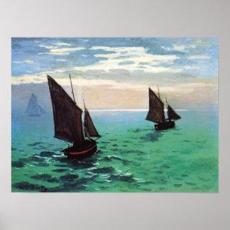 海ポスターのMonetの漁船 ポスター