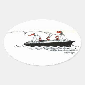 海ラインスケッチの遠洋定期船 楕円形シール