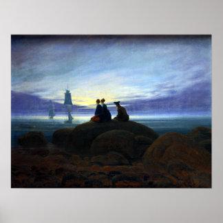海上のカスパー・ダーヴィト・フリードリヒのMoonrise ポスター