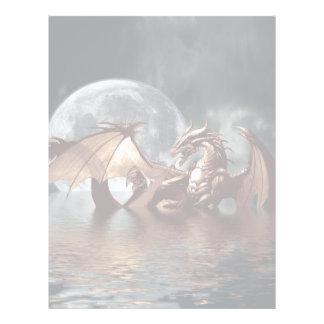 海上のファンタジーのドラゴンそして上昇の月 レターヘッド