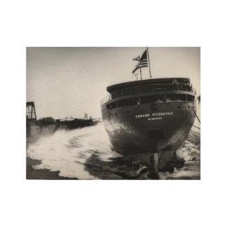 海上エドマンドFitzgeraldのヴィンテージを進水させます ウッドポスター