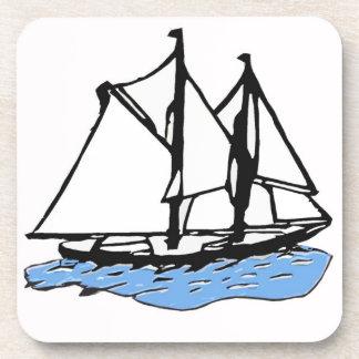 海上帆船、ヨット、青い海のボート コースター