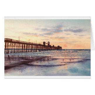 海側面桟橋の日没 カード