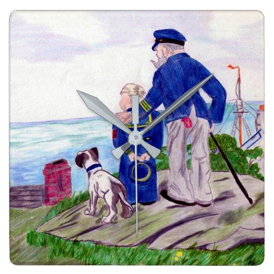 海大尉および孫 スクエア壁時計