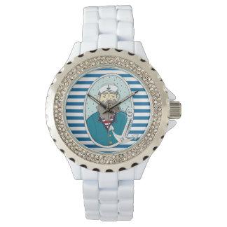 海大尉の青および白い横のストライプ 腕時計