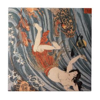 海女と龍、国芳、女性及びドラゴン、Kuniyoshi、Ukiyo-e タイル