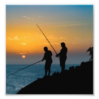海岸で採取している2人 フォトプリント