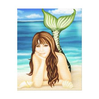 海岸によっては人魚のファンタジーのキャンバスプリントが空想にふけります キャンバスプリント