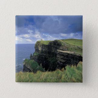 海岸による崖の全景 5.1CM 正方形バッジ