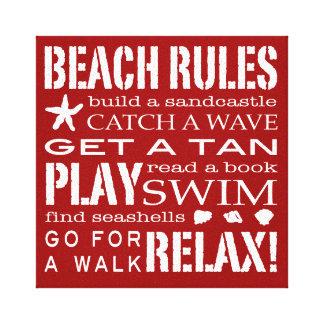 海岸のはっきりしたな赤くのによるビーチの規則及び白い キャンバスプリント