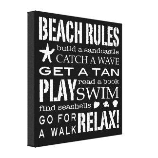 海岸のぱりっとした黒いの及び白によるビーチの規則 キャンバスプリント