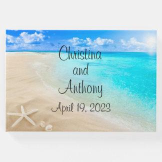 海岸のビーチのカスタムな結婚式の来客名簿のハート ゲストブック