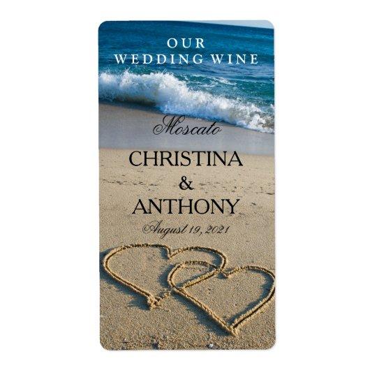 海岸のビーチの結婚式のワインのラベルのハート 発送ラベル