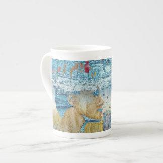 海岸の女の子のコラージュの芸術 ボーンチャイナカップ