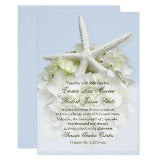 海岸の庭白の花柄の結婚式招待状 12.7 X 17.8 インビテーションカード
