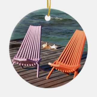 海岸の椅子の写真 セラミックオーナメント