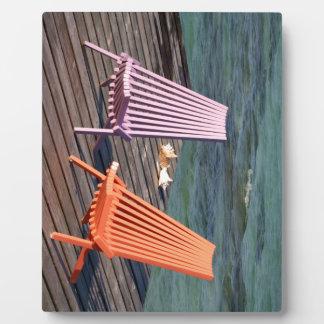 海岸の椅子の写真 フォトプラーク