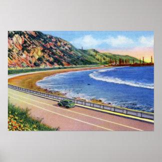 海岸の沖のベントゥーラカリフォルニアの油井 ポスター