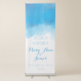 海岸の結婚式の歓迎の青の水彩画 伸縮バナー