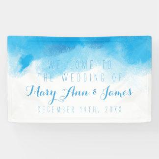 海岸の結婚式の歓迎の青の水彩画 横断幕