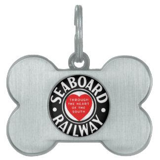 海岸の航空路鉄道のハートのロゴ ペットネームタグ