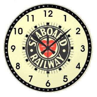 海岸の航空路鉄道のハートのロゴ ラージ壁時計